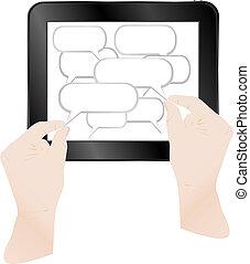 concept, informatique, tablette, vecteur, pc., nuage