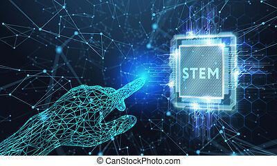 concept., ingénierie, internet, tige, réseau, science, technologie, math., business