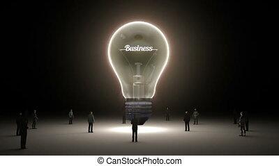 concept, ingénieurs, 'business', lumière, entouré, idée, version, typo, ampoule, hommes affaires