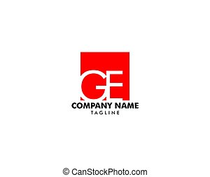 concept, initiale, ge, vecteur, lettre, logo