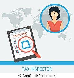 concept, inspecteur, werken, belasting