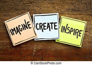 concept, inspireren, opmerkingen, scheppen, zich voorstellen, kleverig