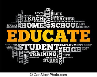 concept, instruire, nuage, education, mot