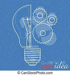 concept., inteligência, idéia, fundo, grande