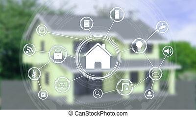 concept, intelligent, maison