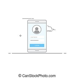 Concept interface design login screen on your mobile device. Register or Login to the application. User Icon. Illustration of a dark stroke performed in a linear style isolated on white background.