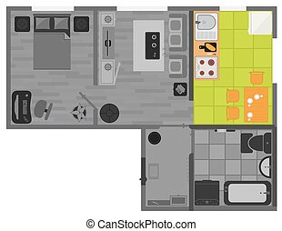 concept interior flat design on top view