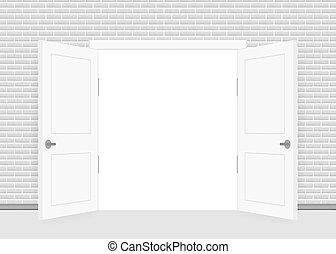 concept., interior, vista., hogar, success., cerrado, abierto, door., empresa / negocio, design., frente, fin, oficina