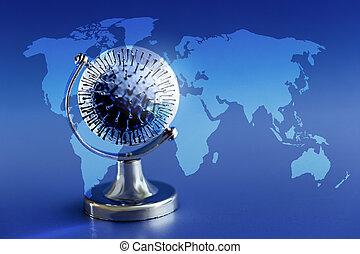 concept., interpretación, virus, esparcimiento, mundo, a través de, wuhan, covid-19, 3d