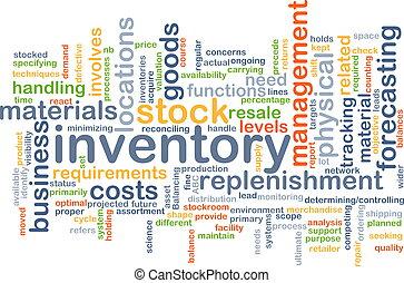 concept, inventaire, fond