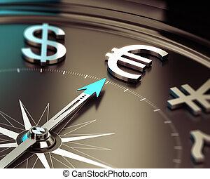 concept, investering, eurobiljet