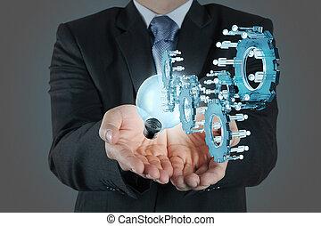 concept, investering, zakenman, wijzende