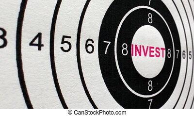 concept, investir, cible, chariot, coup