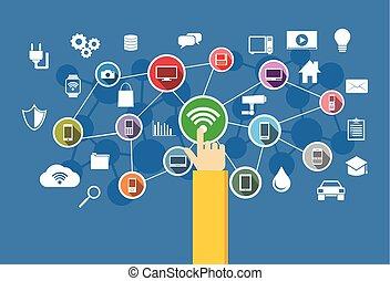 concept., iot., sans fil, information, connection., technologie
