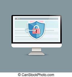Concept is data security Access .Shield on Computer Desktop  protect sensitive data. Internet security. Vector Illustration.