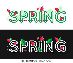 concept., iscrizione, banner., primavera, text., contorno, testo, decorativo, design.