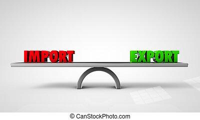 concept, isolé, illustration, exportation, importation, blanc, équilibre, 3d