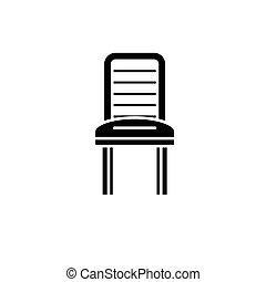 concept, isolé, illustration, signe, arrière-plan., vecteur, noir, icône, chaise, symbole, cuisine