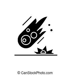 concept, isolé, illustration, signe, arrière-plan., vecteur, noir, icône, comète, symbole