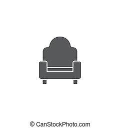 concept, isolé, sofa, divan, vecteur, fond, blanc, icône
