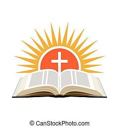 concept., isolerat, cross., bakgrund., solnedgång, kyrka, bibel, logo, vit