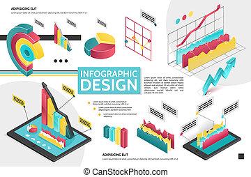 concept, isométrique, infographic, moderne