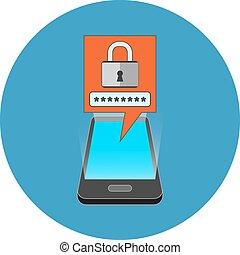 concept., isométrique, smartphone, sécurité, design.