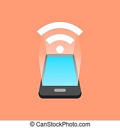 concept., isométrique, smartphone, signal, design.