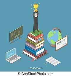 concept., isométrique, vecteur, plat, education