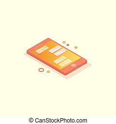 Isometric phone with chat on screen.