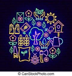 concept, jardin, néon
