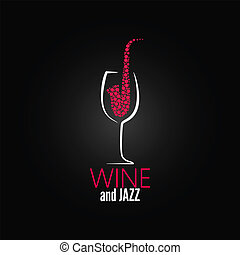 concept, jazz, verre, conception, fond, vin