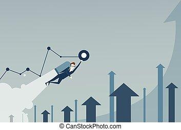 concept, jet commercial, réussi, graphique, sur, flèches, haut, projet, démarrage, meute, homme, finance