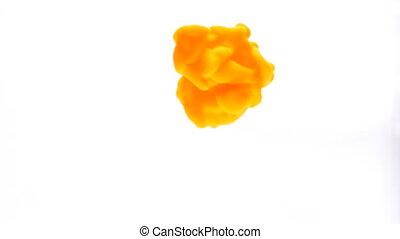 concept, jet, couleur, résumé, eau, peinture, fond, encre, orange, disperser
