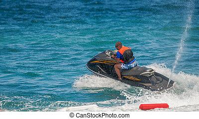 concept, jet, jeune, vacances, exotique, océan, ski, homme