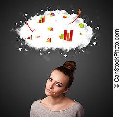 concept, jeune, diagrammes, femme, faire gestes, nuage