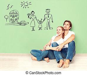concept., jong paar, dromen, van, nieuw huis, auto, kind,...