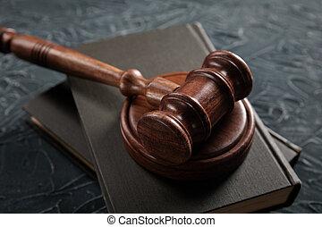 concept, juge, légal, livre, marteau, table., justice