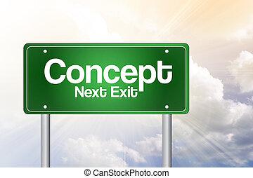 concept, juste, devant, vert, panneaux signalisations