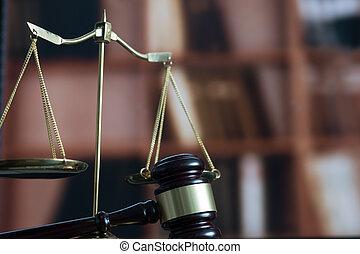 concept, justice, légal, juge, livre, lieu travail, avocat, marteau, droit & loi