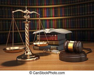 concept., justice, livres, doré, bibliothèque, marteau, balances