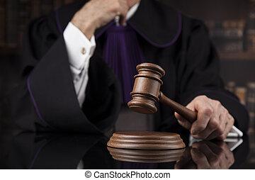 concept., justice, mâle, salle audience, droit & loi, juge