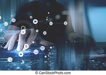 concept., kłódka, tworzenie sieci, ręka, tło, komputer, internet, cyber, pracujący, ikona, bezpieczeństwo, ekran, vr, biznesmen