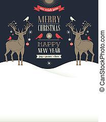 concept, kaart, ouderwetse , groet, deers, retro, kerstmis