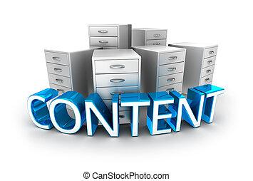 concept, kantoor, tekst, inhoud, containers, 3d