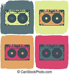 concept., kassette, eps8, vektor, ton, pop-art