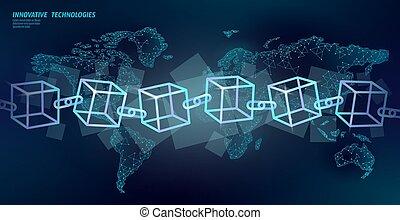 concept, ketting, neon, cryptocurrency, plein, aarde, blauwe , blockchain, bitcoin, gloeiend, vector, mal, internationaal, kubus, financiën, zakelijk, groot, symbool, illustratie, data, map., planeet, flow., code.