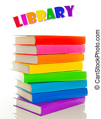 concept, kleurrijke, -, bibliotheek, boekjes , stapel