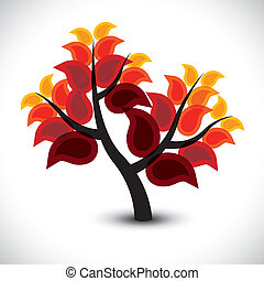 concept, kleurrijke, graphic-, abstract, boompje, icon(symbol), vector