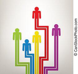 concept, kleurrijke, mensen, generatie, abstract, symbolen,...